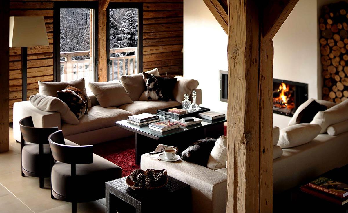 Интерьер, Кантри, Гостиная, дерево,диван,звериный принт,подушки,шале,