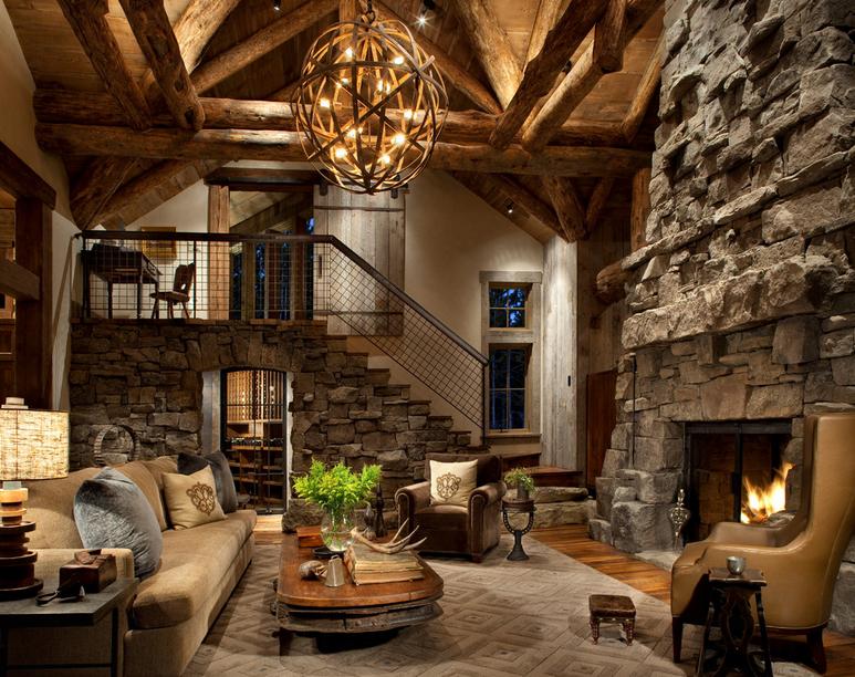 Интерьер, Кантри, Гостиная, балки,гостиная,камень,камин,шале,