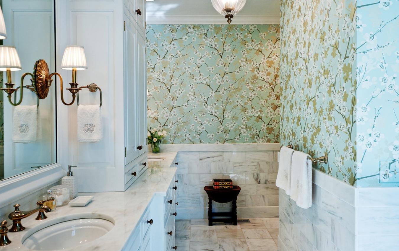Фотообои в ванной дизайн